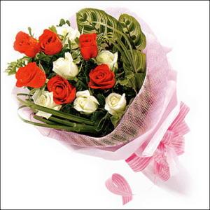 5 kirmizi 5 beyaz güllerden   Burdur online çiçek gönderme sipariş