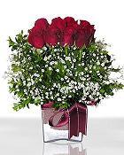 Burdur çiçek , çiçekçi , çiçekçilik  11 adet gül mika yada cam - anneler günü seçimi -