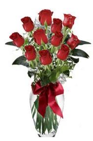 11 adet kirmizi gül vazo mika vazo içinde  Burdur 14 şubat sevgililer günü çiçek