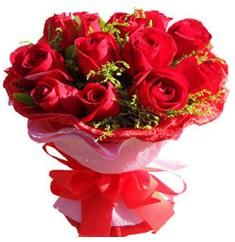 9 adet kirmizi güllerden kipkirmizi buket  Burdur çiçekçiler