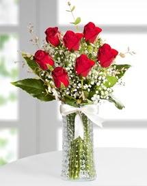 Cam vazoda 7 adet kırmızı gül  Burdur çiçek , çiçekçi , çiçekçilik