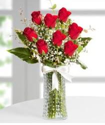 7 Adet vazoda kırmızı gül sevgiliye özel  Burdur çiçek siparişi sitesi