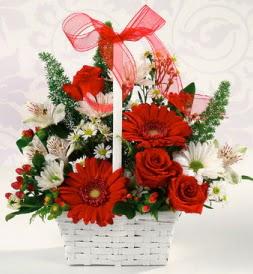 Karışık rengarenk mevsim çiçek sepeti  Burdur internetten çiçek siparişi