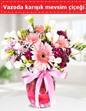 Vazoda karışık mevsim çiçeği  Burdur çiçek , çiçekçi , çiçekçilik