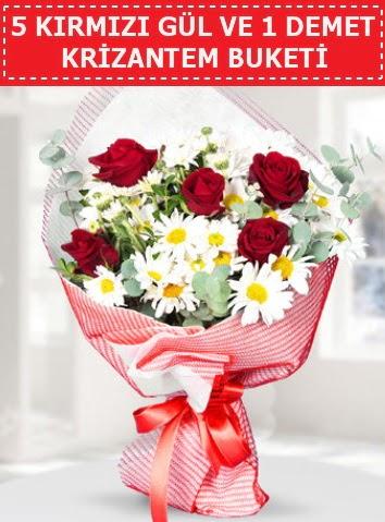 5 adet kırmızı gül ve krizantem buketi  Burdur çiçek satışı