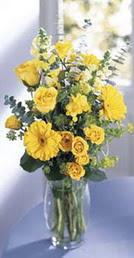 Burdur online çiçek gönderme sipariş  sari güller ve gerbera cam yada mika vazo