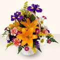 Burdur 14 şubat sevgililer günü çiçek  sepet içinde karisik çiçekler