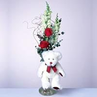 2 adet gül ve panda özel  Burdur çiçekçi mağazası