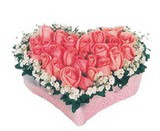 kalp içerisinde 9 adet pembe gül  Burdur çiçek satışı
