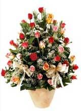 91 adet renkli gül aranjman   Burdur çiçek gönderme sitemiz güvenlidir