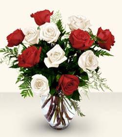 Burdur uluslararası çiçek gönderme  6 adet kirmizi 6 adet beyaz gül cam içerisinde
