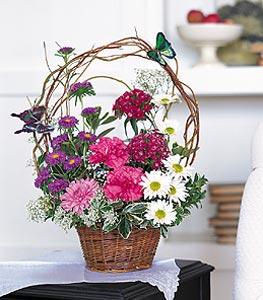 Burdur cicekciler , cicek siparisi  sepet içerisinde karanfil gerbera ve kir çiçekleri
