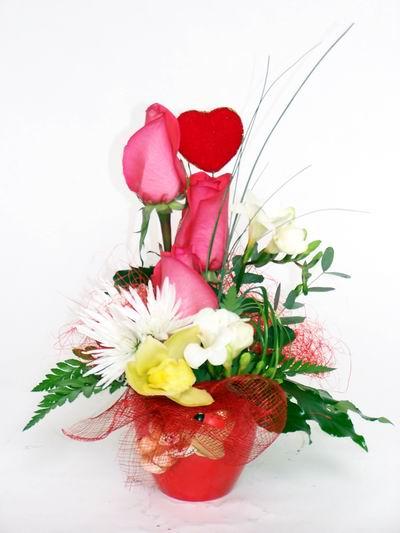 Burdur ucuz çiçek gönder  cam içerisinde 3 adet gül ve kir çiçekleri