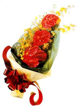 özel 5 adet antorium buketi   Burdur çiçek gönderme sitemiz güvenlidir