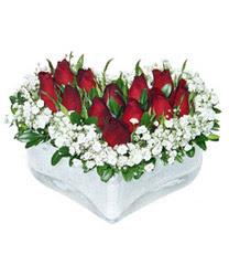 Burdur internetten çiçek siparişi  mika kalp içerisinde 9 adet kirmizi gül