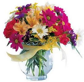 Burdur internetten çiçek satışı  cam yada mika içerisinde karisik mevsim çiçekleri