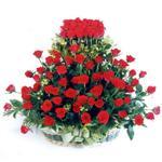 Burdur kaliteli taze ve ucuz çiçekler  41 adet kirmizi gülden sepet tanzimi