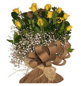 Burdur çiçek yolla  9 adet sari gül buketi