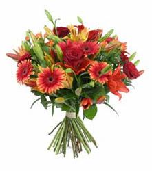 Burdur çiçek gönderme  3 adet kirmizi gül ve karisik kir çiçekleri demeti