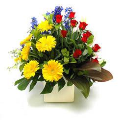 Burdur online çiçek gönderme sipariş  9 adet gül ve kir çiçekleri cam yada mika vazoda