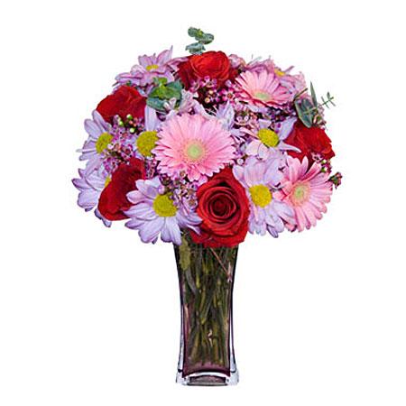 Görsel hediye karisik cam mevsim demeti  Burdur çiçekçi mağazası