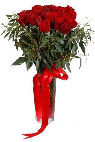 15 adet kirmizi gül cam vazo içerisinde  Burdur internetten çiçek satışı