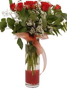 Burdur uluslararası çiçek gönderme  11 adet kirmizi gül vazo çiçegi