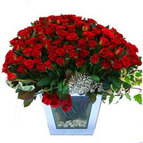 Burdur çiçekçiler   101 adet kirmizi gül aranjmani