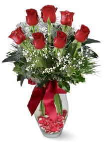 7 adet vazoda gül  Burdur internetten çiçek satışı  kirmizi gül