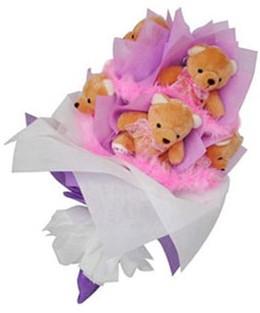 9 adet ayiciktan buket  Burdur hediye sevgilime hediye çiçek