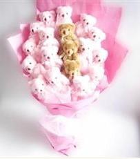 17 adet pelus ayicik buketi  Burdur İnternetten çiçek siparişi