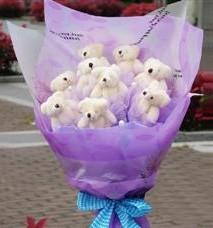11 adet pelus ayicik buketi  Burdur ucuz çiçek gönder