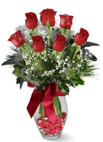 Burdur internetten çiçek siparişi  7 adet kirmizi gül cam vazo yada mika vazoda