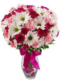 Burdur çiçek siparişi sitesi  Karisik mevsim kir çiçegi vazosu