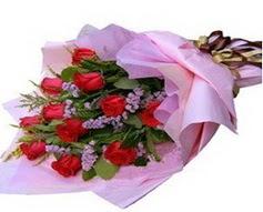 11 adet kirmizi güllerden görsel buket  Burdur çiçek gönderme sitemiz güvenlidir