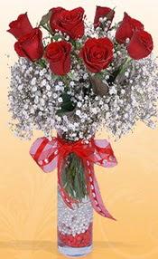 9 adet kirmizi gül cam yada mika vazoda  Burdur çiçek mağazası , çiçekçi adresleri