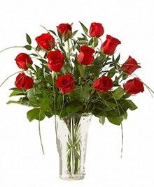 cam yada mika vazo içerisinde 9 kirmizi gül  Burdur çiçek siparişi sitesi