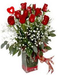 Burdur çiçek siparişi vermek  9 adet mika yada cam vazoda gül tanzimi kalp çubuk