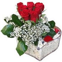 Burdur güvenli kaliteli hızlı çiçek  kalp mika içerisinde 7 adet kirmizi gül