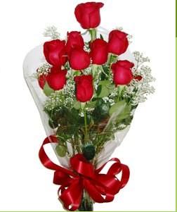 Burdur uluslararası çiçek gönderme  10 adet kırmızı gülden görsel buket