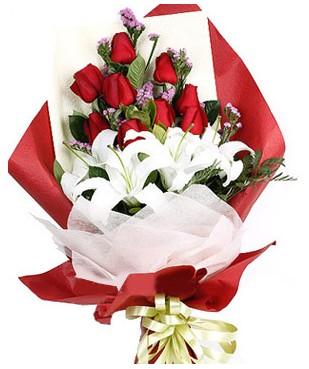 Burdur çiçekçiler  1 dal kazablankaa 9 adet kırmızı gül buketi