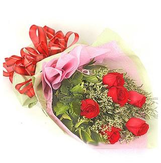 Burdur çiçek , çiçekçi , çiçekçilik  6 adet kırmızı gülden buket