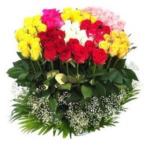 Burdur çiçek mağazası , çiçekçi adresleri  51 adet renkli güllerden aranjman tanzimi