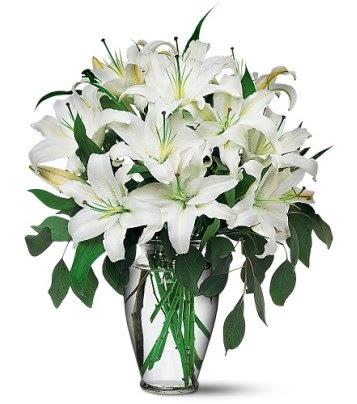 Burdur internetten çiçek satışı  4 dal kazablanka ile görsel vazo tanzimi