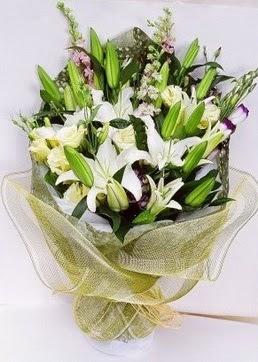 Burdur çiçek servisi , çiçekçi adresleri  3 adet kazablankalardan görsel buket çiçeği