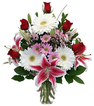 Burdur çiçek mağazası , çiçekçi adresleri  1 dal kazablanka 5 gül ve kırçiçeği vazosu