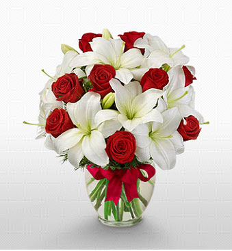 Burdur hediye çiçek yolla  1 dal kazablanka 11 adet kırmızı gül vazosu