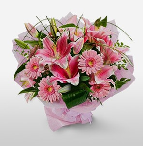 1 dal kazablanka ve kır çiçek görsel buketi  Burdur internetten çiçek satışı