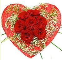 Mika kalp içerisinde 7 adet kırmızı gül  Burdur çiçekçi mağazası