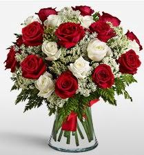 Vazoda 12 kırmızı 12 beyaz gül tanzimi  Burdur uluslararası çiçek gönderme